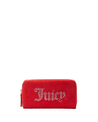 Zip-Around Velour Wallet with Rhinestone Logo