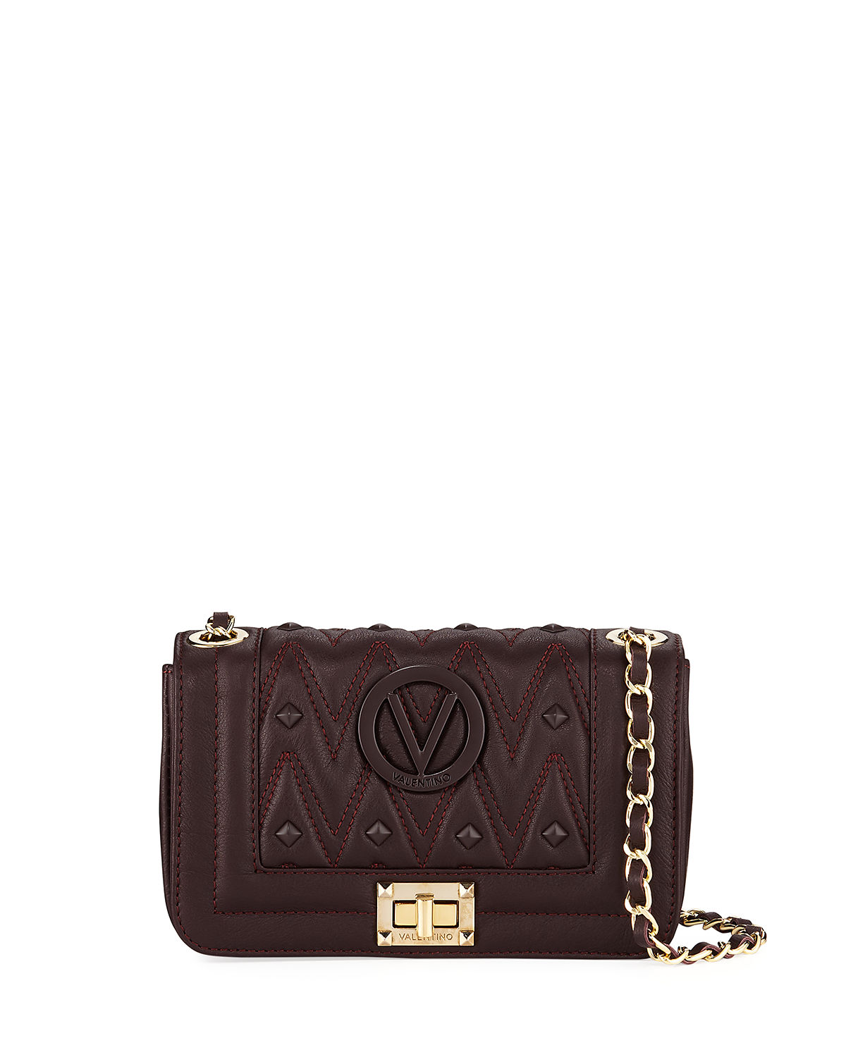 VALENTINO BY MARIO VALENTINO BEATRIZ D SAUVAGE STUDS QUILTED LEATHER SHOULDER BAG
