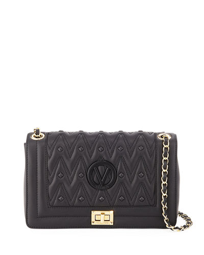 Alice D Studded Quilted Sauvage Leather Shoulder Bag