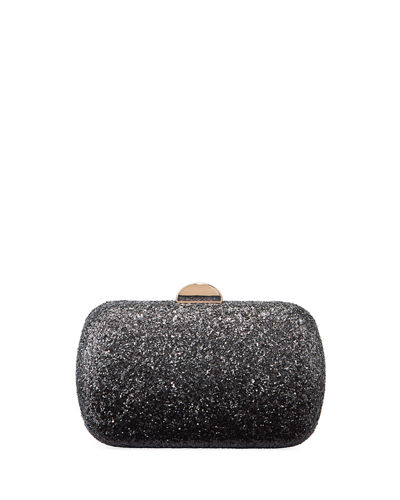 Oval Ombre-Glittered Chain-Strap Minaudiere Bag