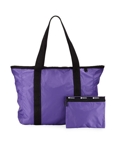 Candace Zip-Top Nylon Tote Bag w/ Pouch