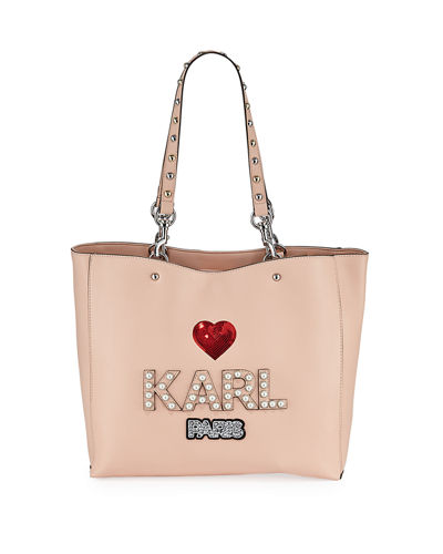 Karl Lagerfeld Paris Shugg Pearly Logo Studded Tote