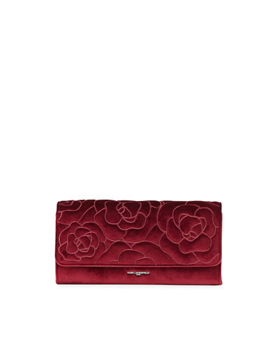 Monique Floral Embroidery Velvet Clutch