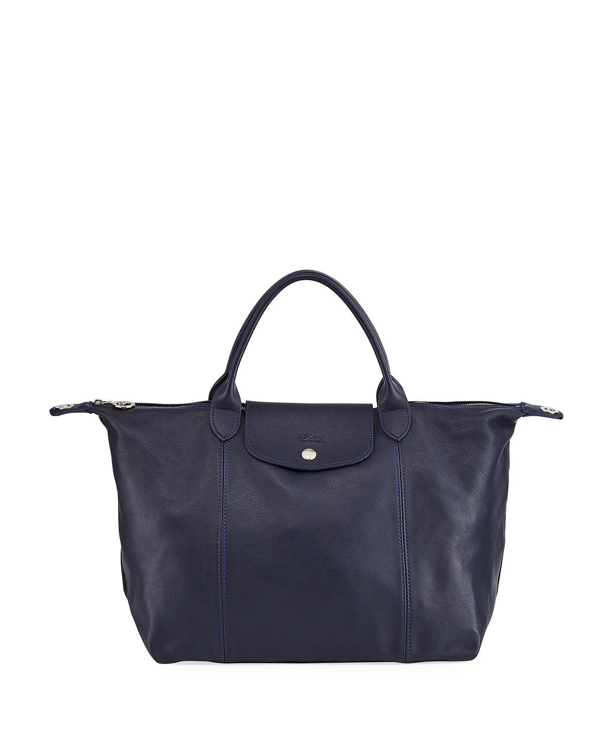 Le Pliage Cuir Medium Leather Handbag with Strap