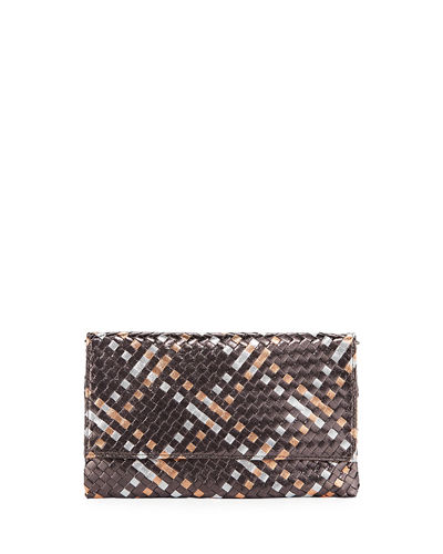 22ce52578d3 Metallic Weave Clutch Bag with Crossbody Strap