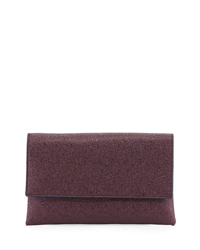 Crinkle Metallic Clutch Bag with Crossbody Strap