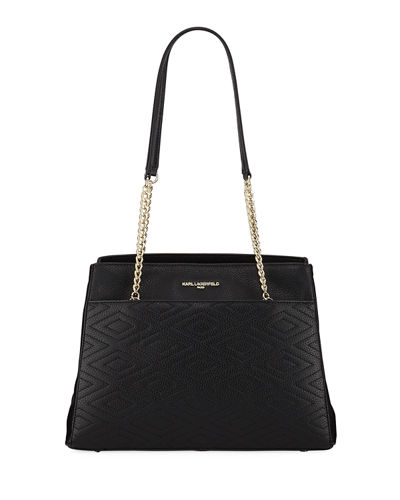 Charlotte Pebbled Leather Shoulder Tote Bag