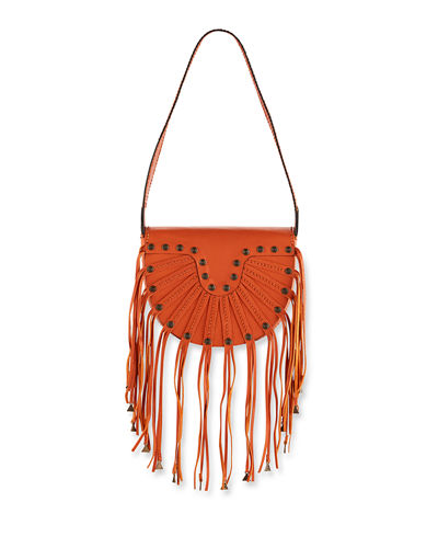 Fringed Horseshoe Shoulder Bag