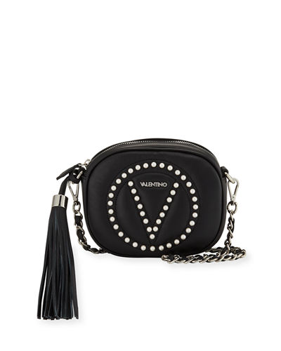 94d0a437e9d Valentino By Mario Valentino Nina Round Sauvage Leather Tassel Crossbody Bag