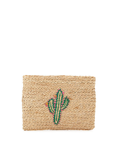 Whimsical Zip-Top Embroidered Clutch
