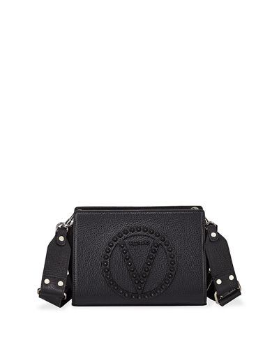 Kiki Rock Dollaro Studs Leather Crossbody Bag