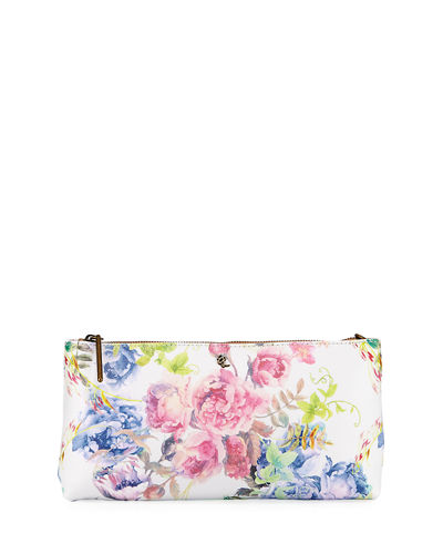 Floral Faux-Leather Clutch Bag