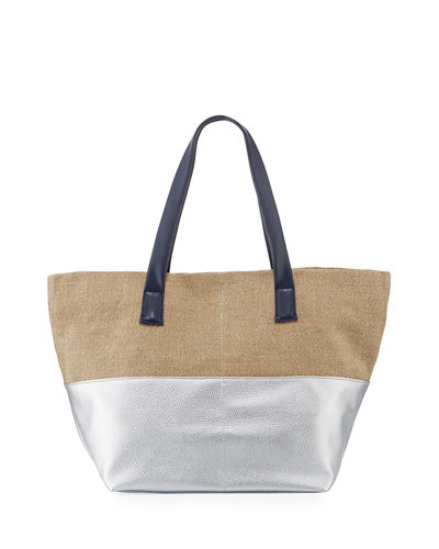 Two-Tone Large Metallic Canvas Tote Bag