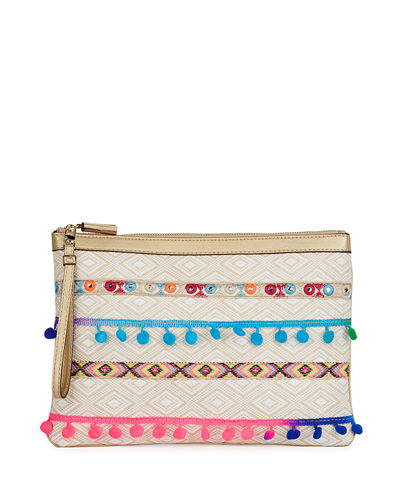 Baja Embellished Woven Clutch Bag