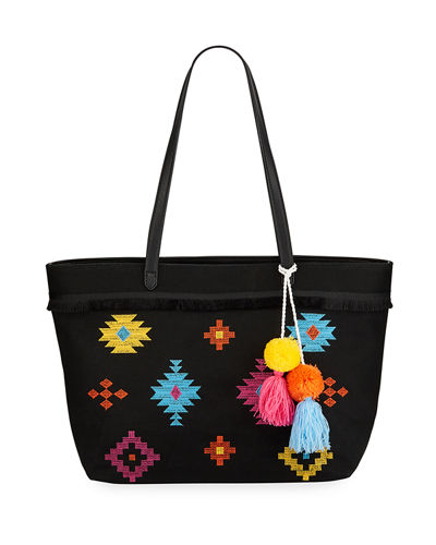 Luca Embroidered Canvas Tote Bag