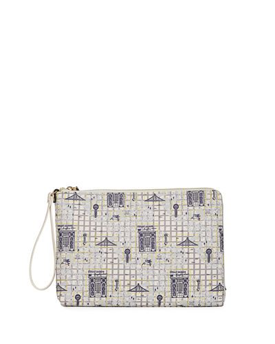 Dallas Map Zip-Top Wristlet Bag