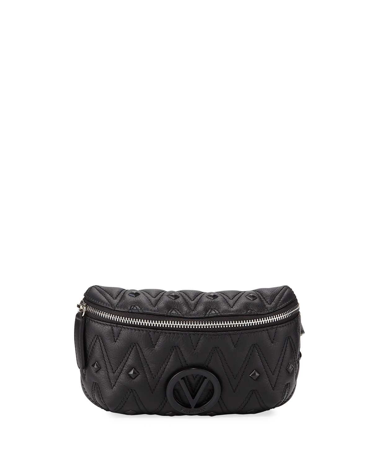 Valentino By Mario Valentino Belts Fanny Quilted Leather Belt Bag, BLACK