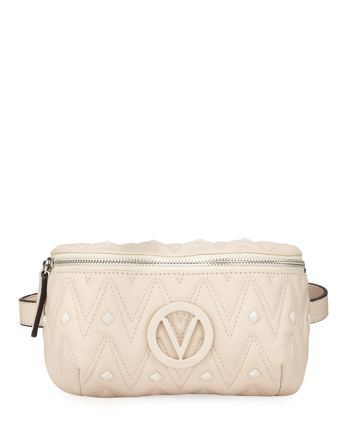 Valentino By Mario Valentino Belts Fanny Quilted Leather Belt Bag, MILK