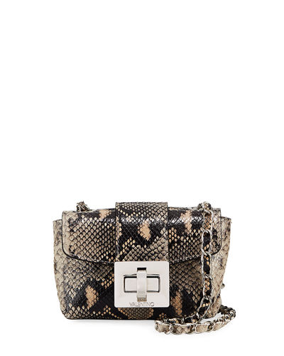 Paulette Small Python-Print Crossbody Bag