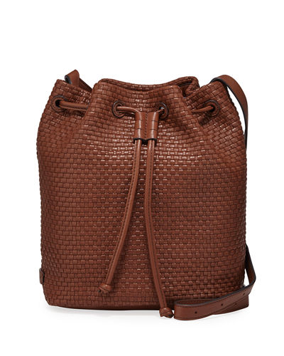 Bethany Leather Weave Bucket Bag