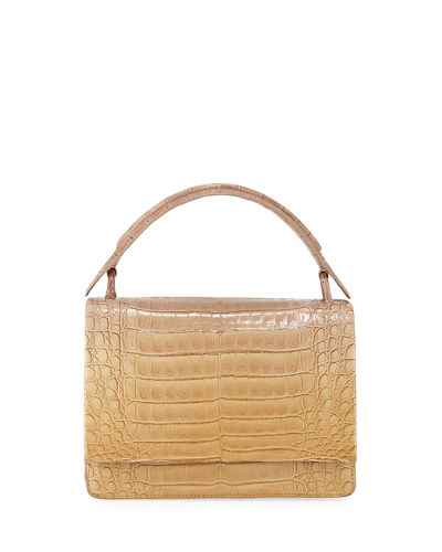 Crocodile Medium Top Handle Shoulder Flap Bag