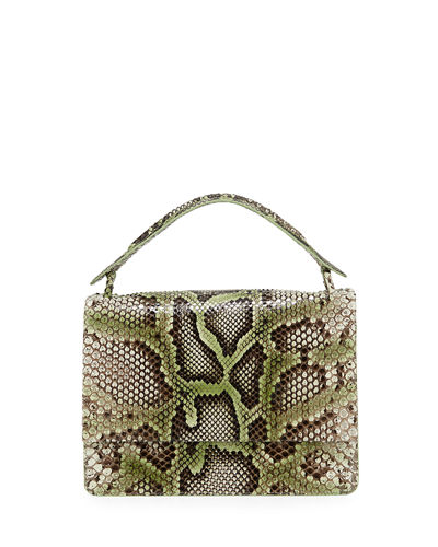 Python Medium Top Handle Shoulder Flap Bag