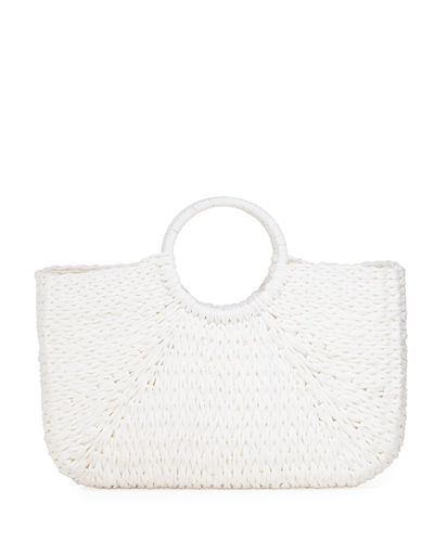 Molly East West Woven Straw Tote Bag