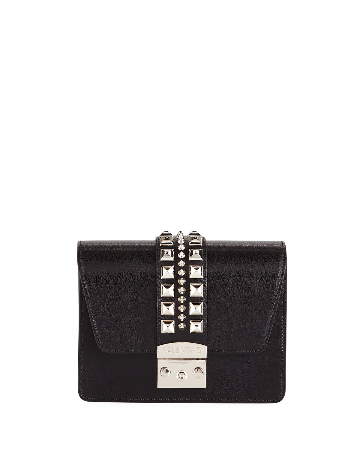 Valentino By Mario Valentino BENEDICTE MADRAS STUDDED LEATHER FLAP TOP BAG