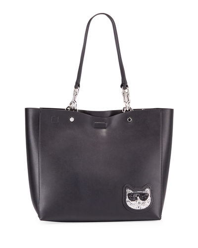 Adele Sequin Cat Face Tote Bag