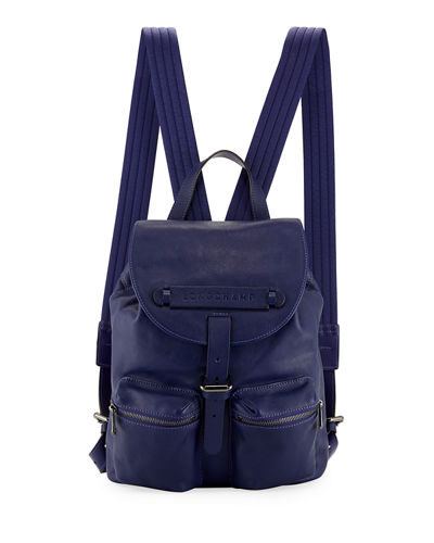 3D Leather Drawstring Flap-Top Backpack