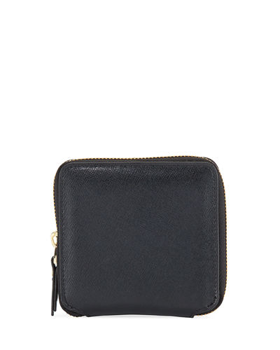 Leather Square Zip Pouch Wristlet