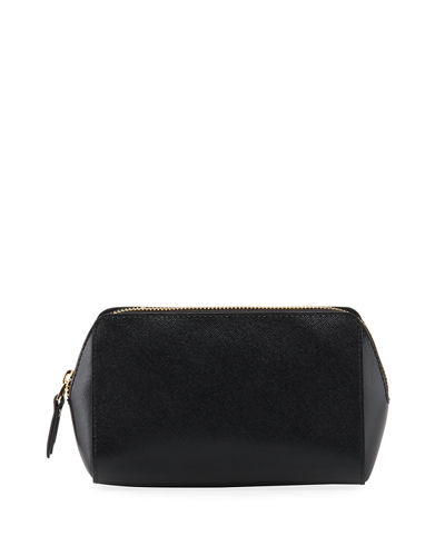 Leather Cosmetic Zip Pouch Bag