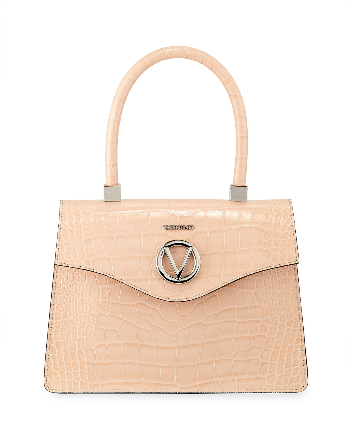 Melanie Croc-Embossed Leather Top-Handle Bag