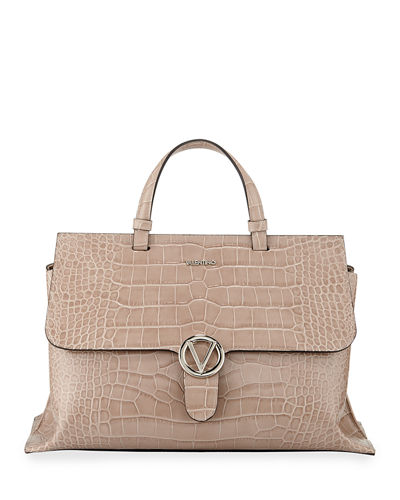 Olimpia Croc-Embossed Leather Top-Handle Bag