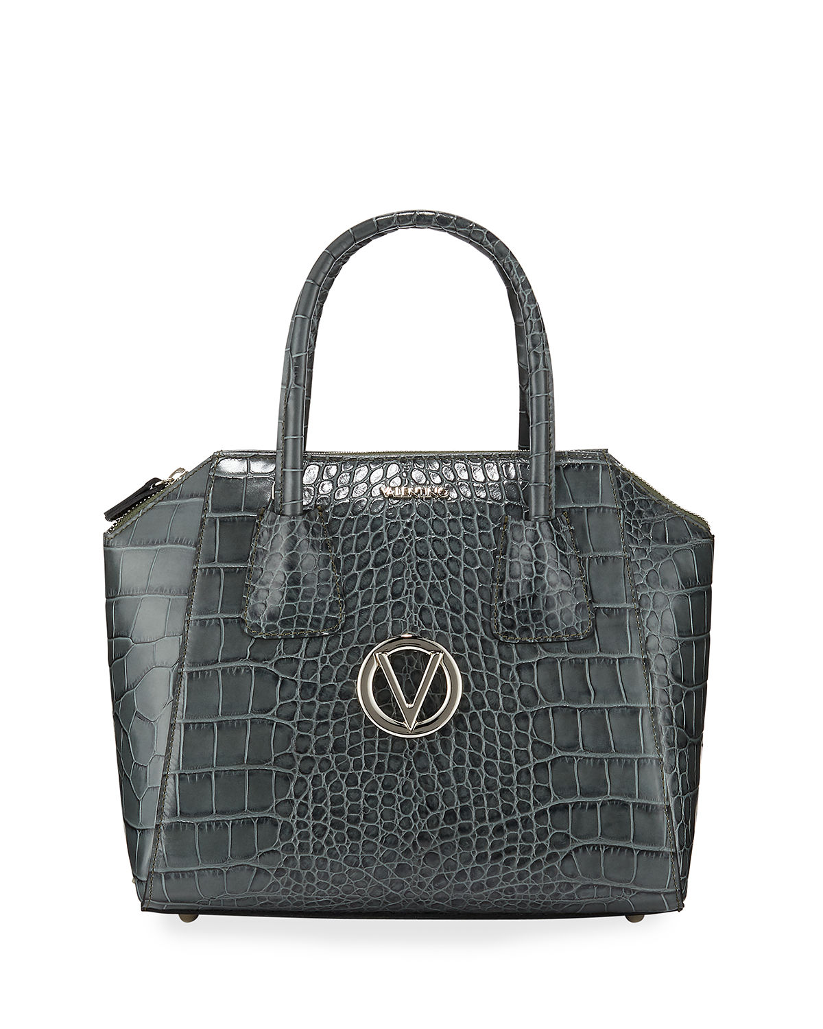 Minimi Croc-Embossed Leather Top-Handle Satchel Bag