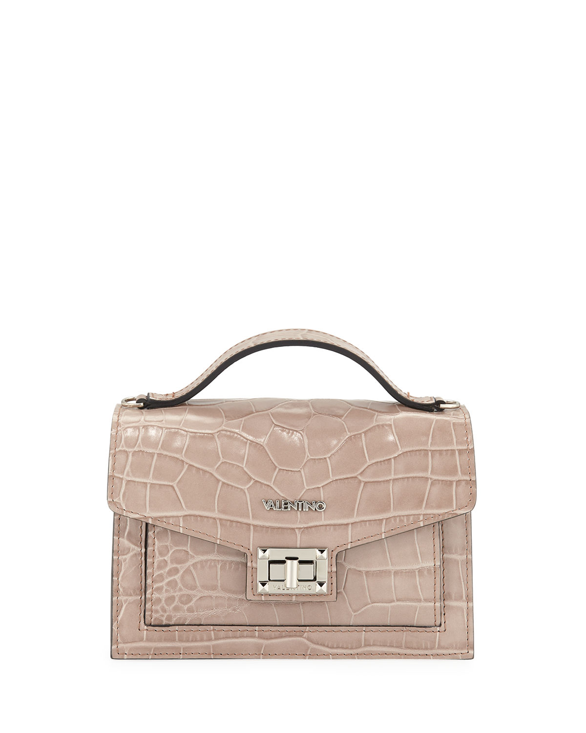 Titti Croc-Embossed Leather Top-Handle Bag