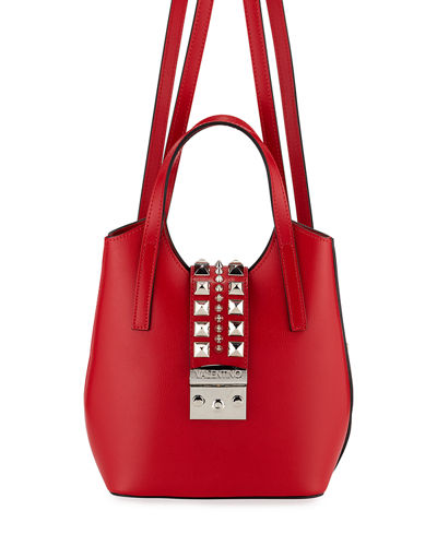 Momo Madras Studded Leather Backpack/Tote Bag
