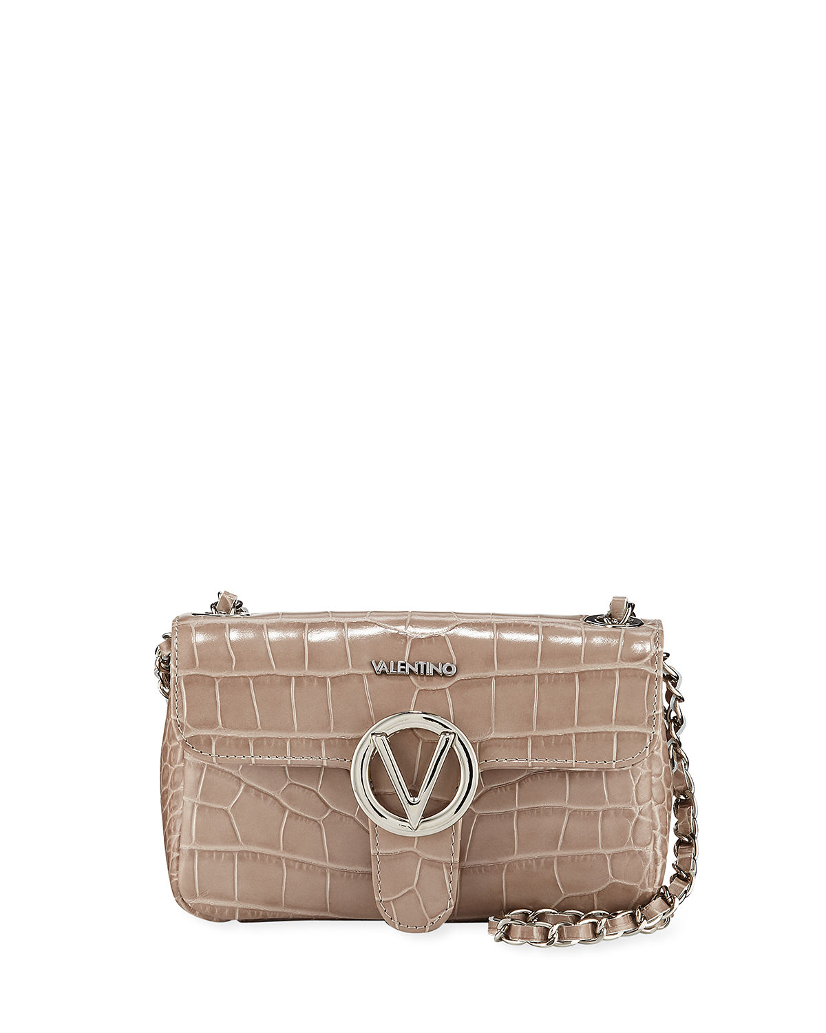 792b689b5d Valentino By Mario Valentino Poisson Croc-Embossed Leather Shoulder Bag In  Praline
