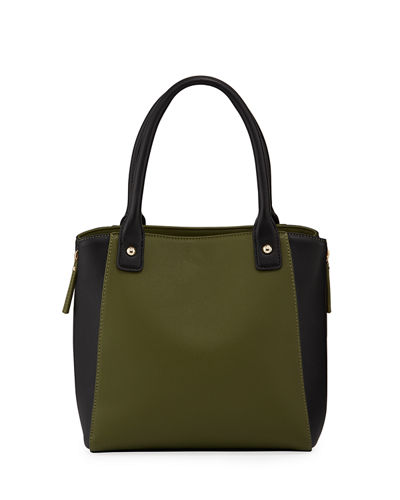 Two-Tone Top Handle Tote Bag