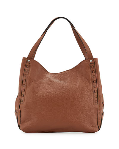 Pebbled Leather Hobo Tote Bag