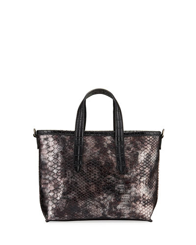 Snake-Print Mini Tote Bag