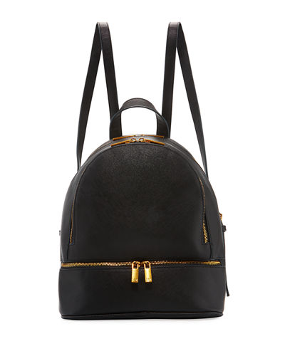 Dual-Zip Faux-Leather Backpack Bag