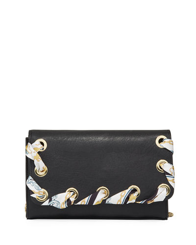 Lacey Silky Woven Faux-Leather Clutch
