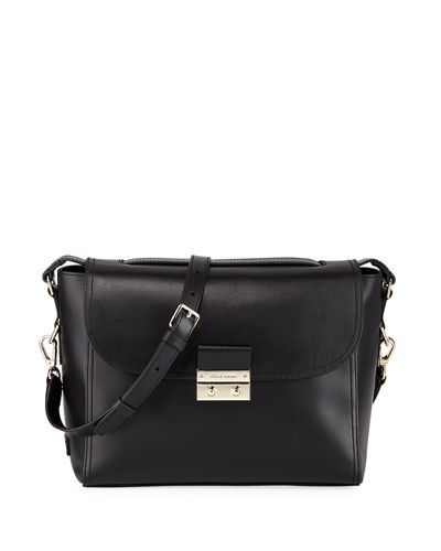 Lock Leather Satchel Bag