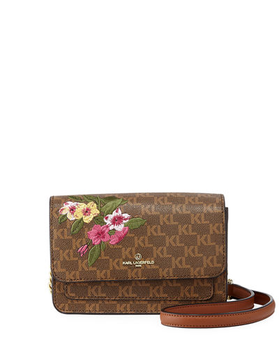 Amelie KL Logo Floral Embroidered Crossbody Bag