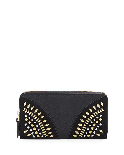 Studded Faux-Leather Continental Zip Wallet