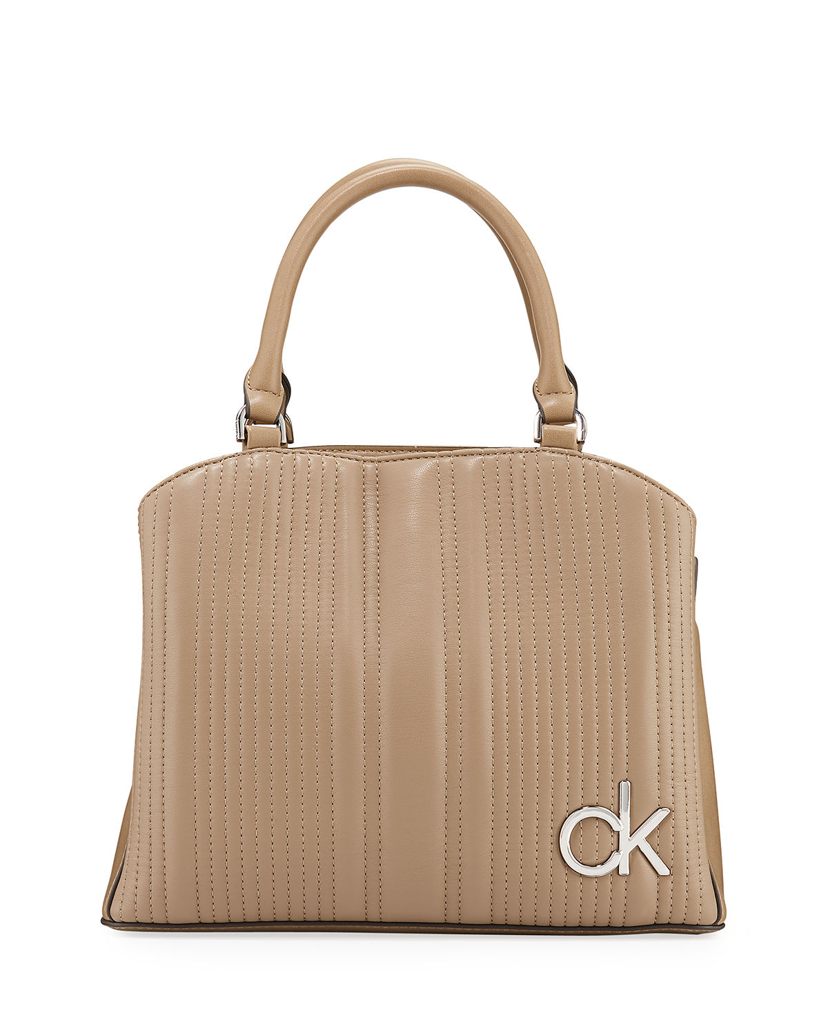 Calvin Klein Quilted Leather Top-Handle Satchel Bag In Taupe