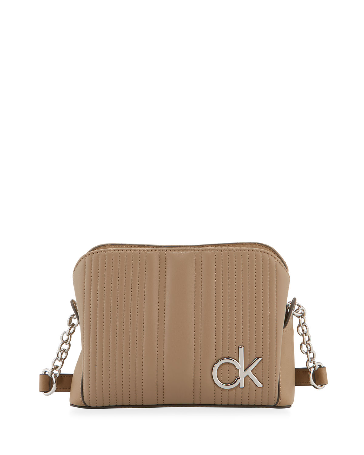 Calvin Klein Quilted Leather Crossbody Bag In Taupe