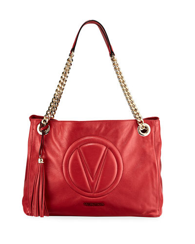 Verra Leather Quilted-Logo Shoulder Tote Bag
