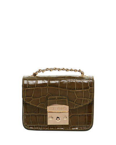 Bijou Croco Croc-Embossed Leather Crossbody Bag
